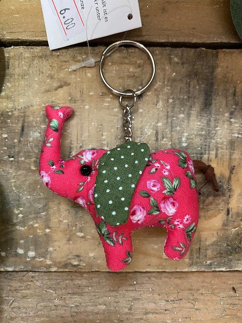 Elephant keyring Pink