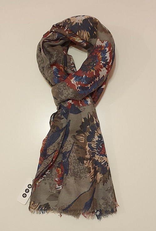 Dark Grey with Red, Blue and Cream Flowers