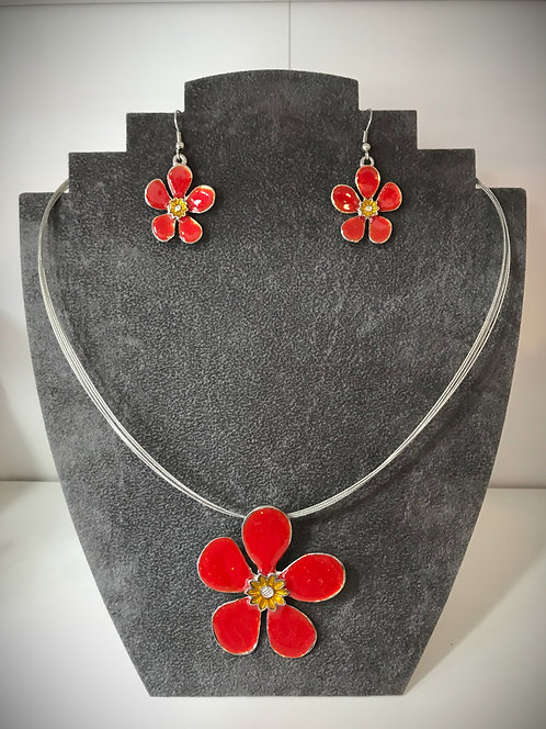 Red Flower Necklace and Earring Set