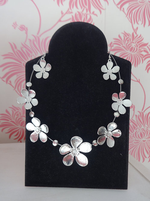 Silver Flower Necklace and Earrings