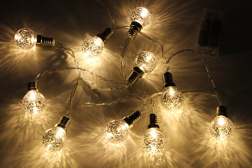Silver Bulb LED Garland