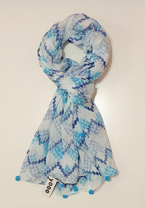 Blue & White Aztec Print with Pom Poms