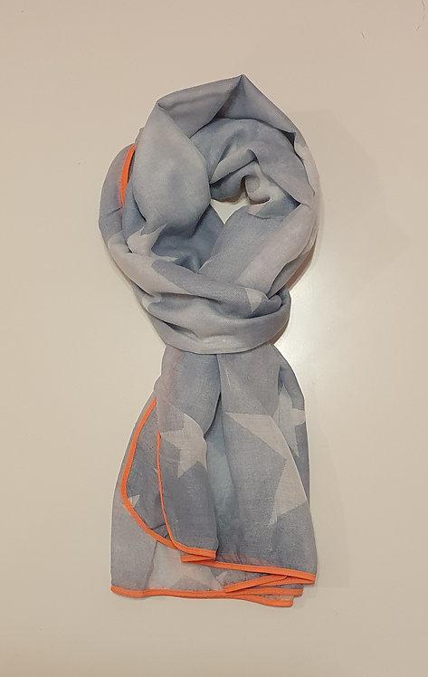 Denim Blue Ombre Star Design with Peach Tri