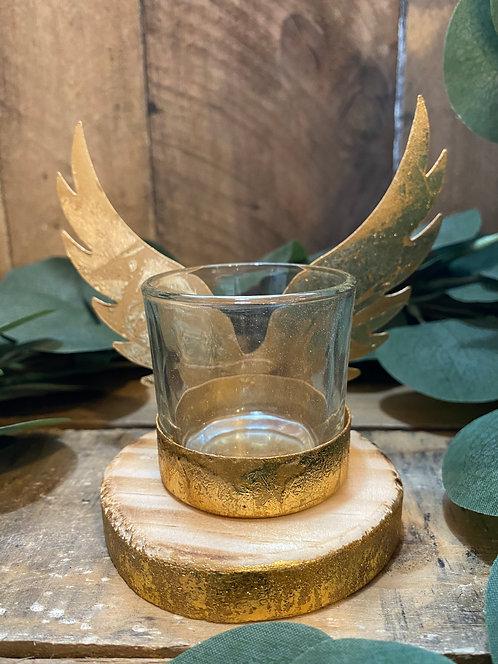 Gold Wing Glass Tea Light Holder