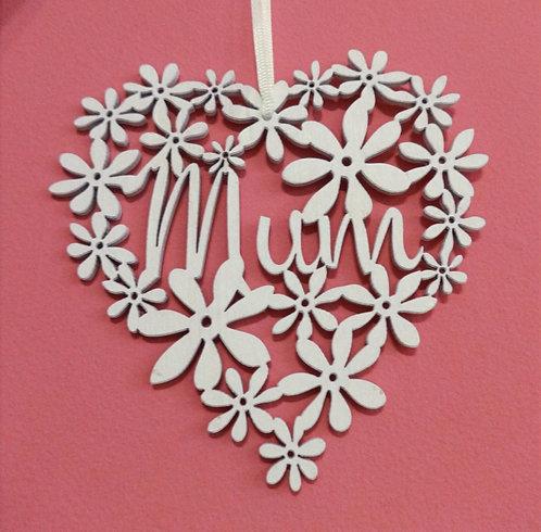 White Wood Mum Heart