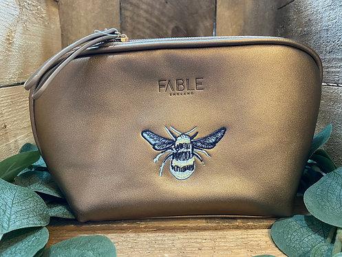 Metallic Gold Bee Cosmetics Bag
