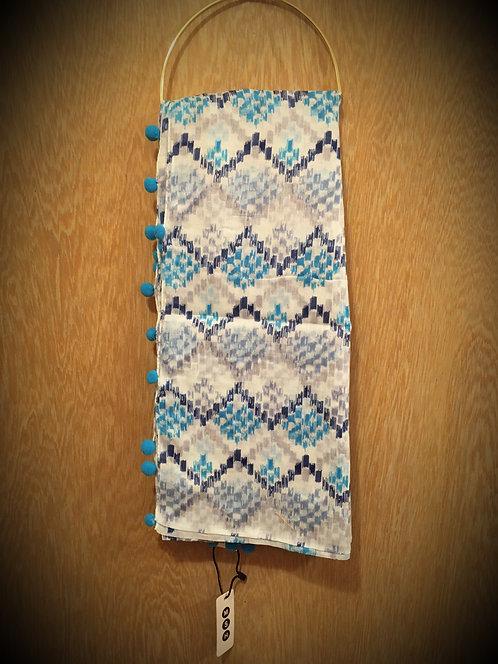 Blue Pom Pom Aztec Design