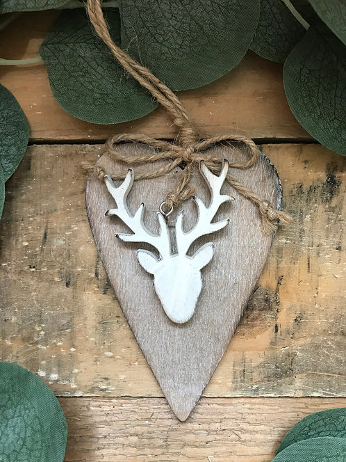 Hanging Stag Wooden Heart