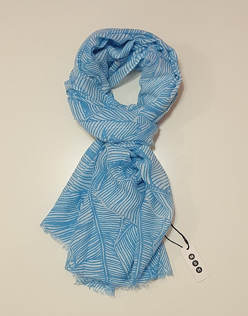 Blue & Cream Palm Leaf Outline Print
