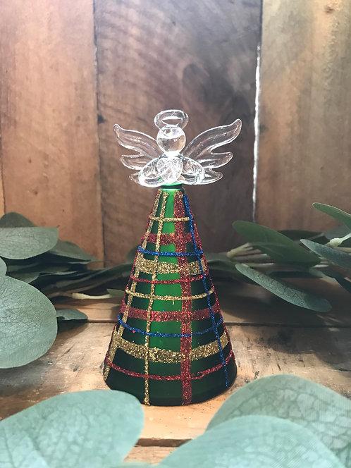 Green Tartan Glass Angel