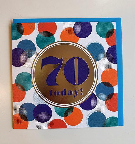 70 Today! - Blue & Orange Circles