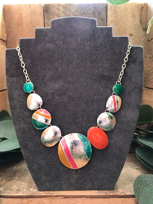 Silver Metal Disc Necklace