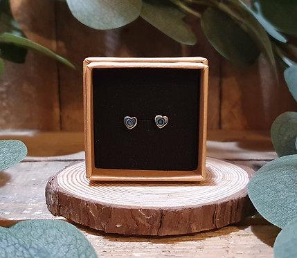 Sterling Silver Paua Shell Heart Studs