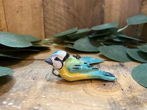 Wooden Blue Tit Keyring