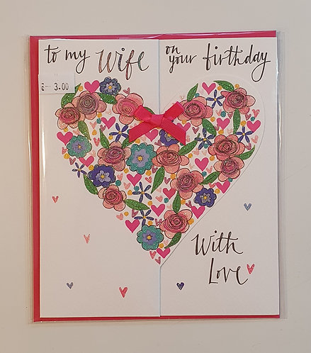 To My Wife - Floral Heart w/Bow
