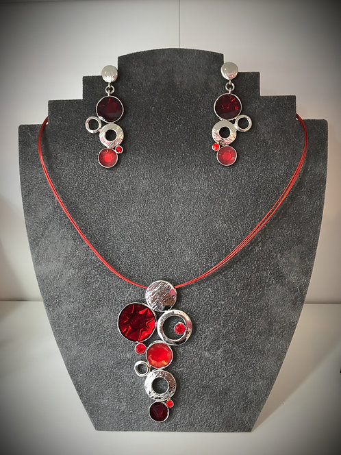 Cascading Red Circles Pendant and Earrings