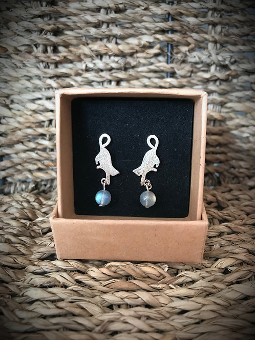 Sterling Silver Cat and Moonstone Bead Earrings