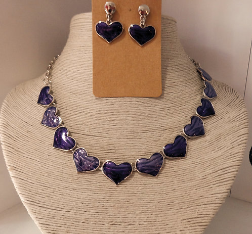 Purple Heart Necklace and Earrings