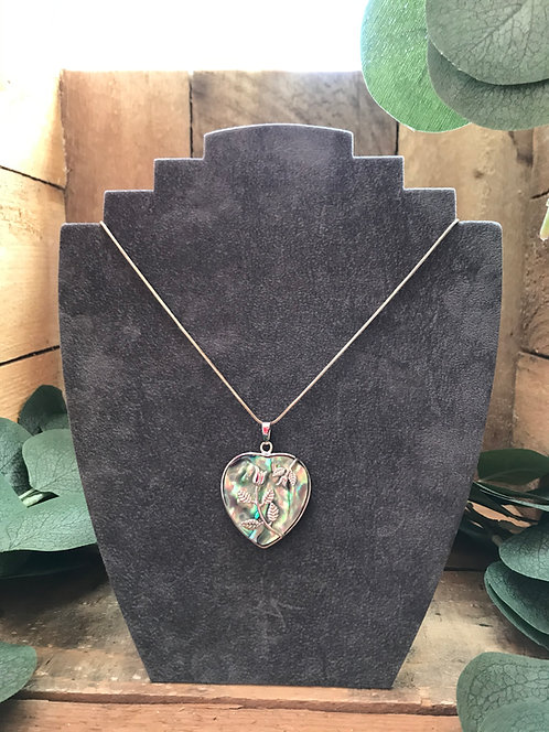 Abalone Heart Necklace With Overlaid Roses