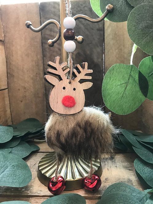 Fluffy Wooden Hanging Reindeer