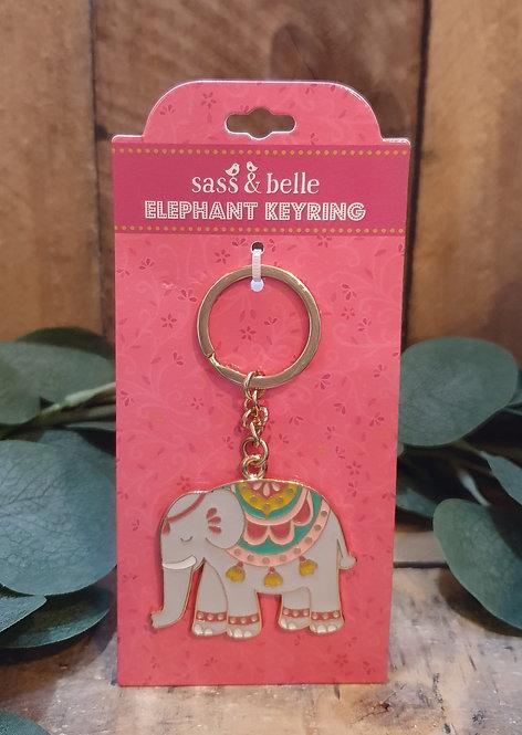 Mandala Elephant Keyring