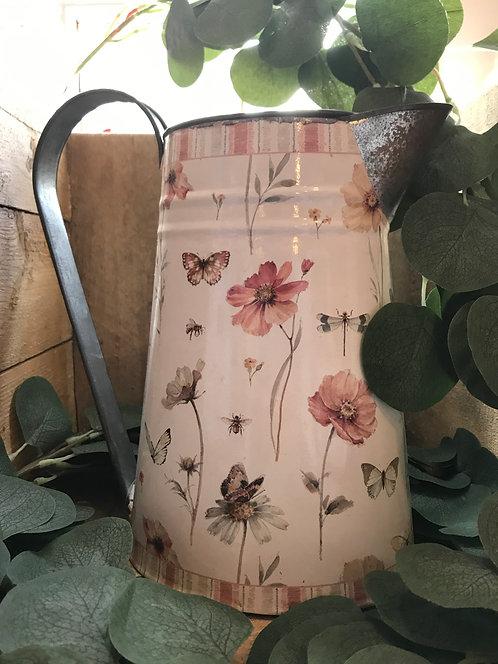 Vintage Floral Metal Jug
