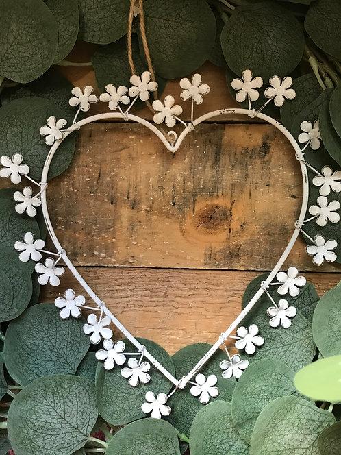 Vintage Metal Hanging Flower Heart