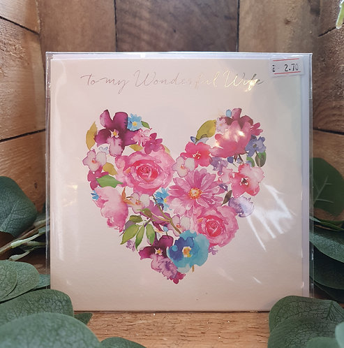 Wonderful Wife Anniversary -  Heart Bouquet
