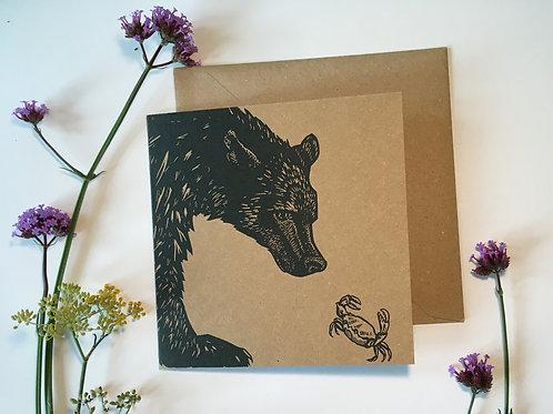 Bear meets crab greetings card