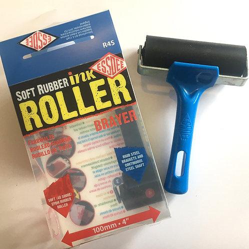 "Soft Blue Handled Linoprint Roller/Brayer (4"" / 100mm wide)"