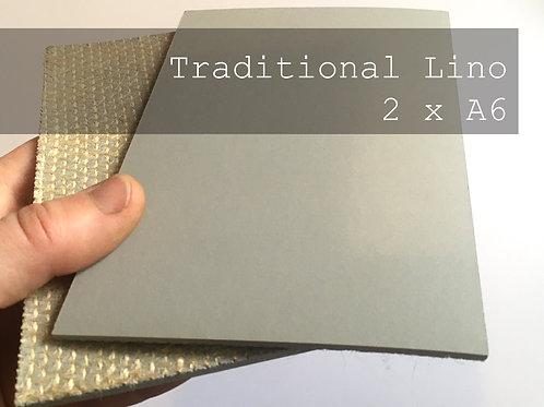 Traditional grey lino x 2 A6 pieces