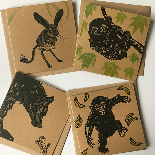 Set of four animal greetings cards - Sloth, Bear & Crab, Jeboa and Chimpanzee.
