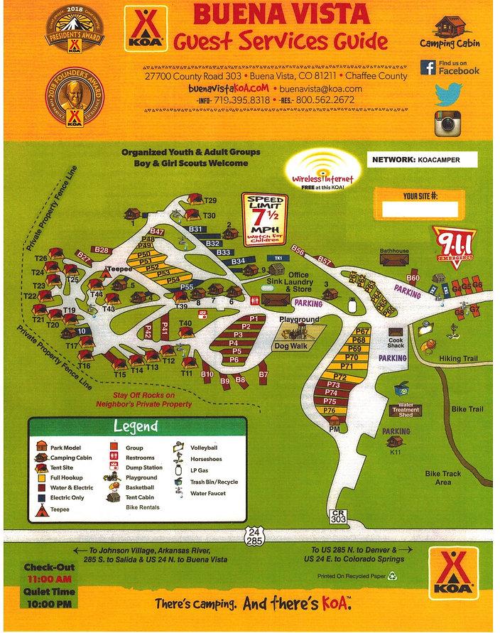 Buena Vista KOA Campground Map