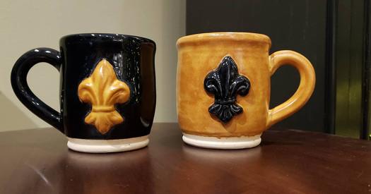 Fleur de Lis cups by Green Heron Pottery
