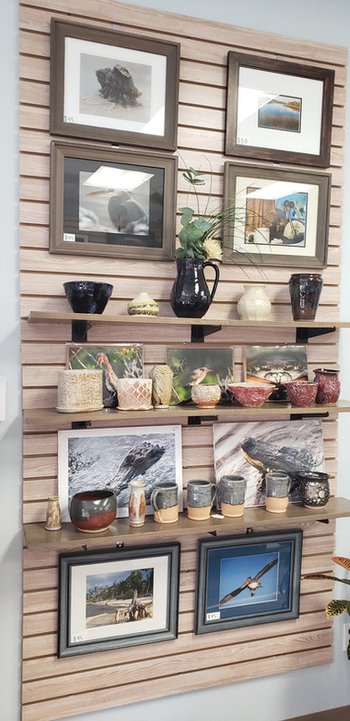 pottery and photography wall