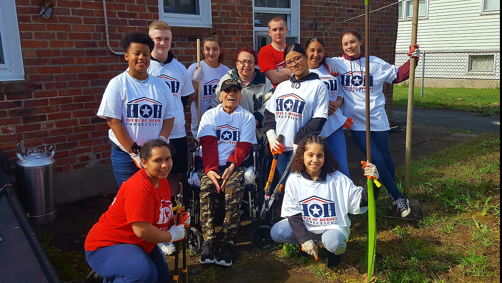 New Britain High School JROTC pitches in to help a local Veteran!