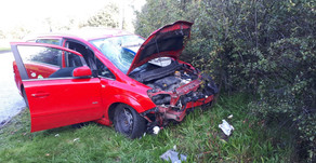 PHV driver and passenger lucky to escape after horror crash which saw road sign smash through window