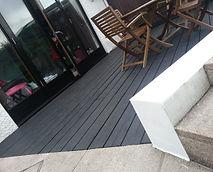contemporary decking are to rear garden