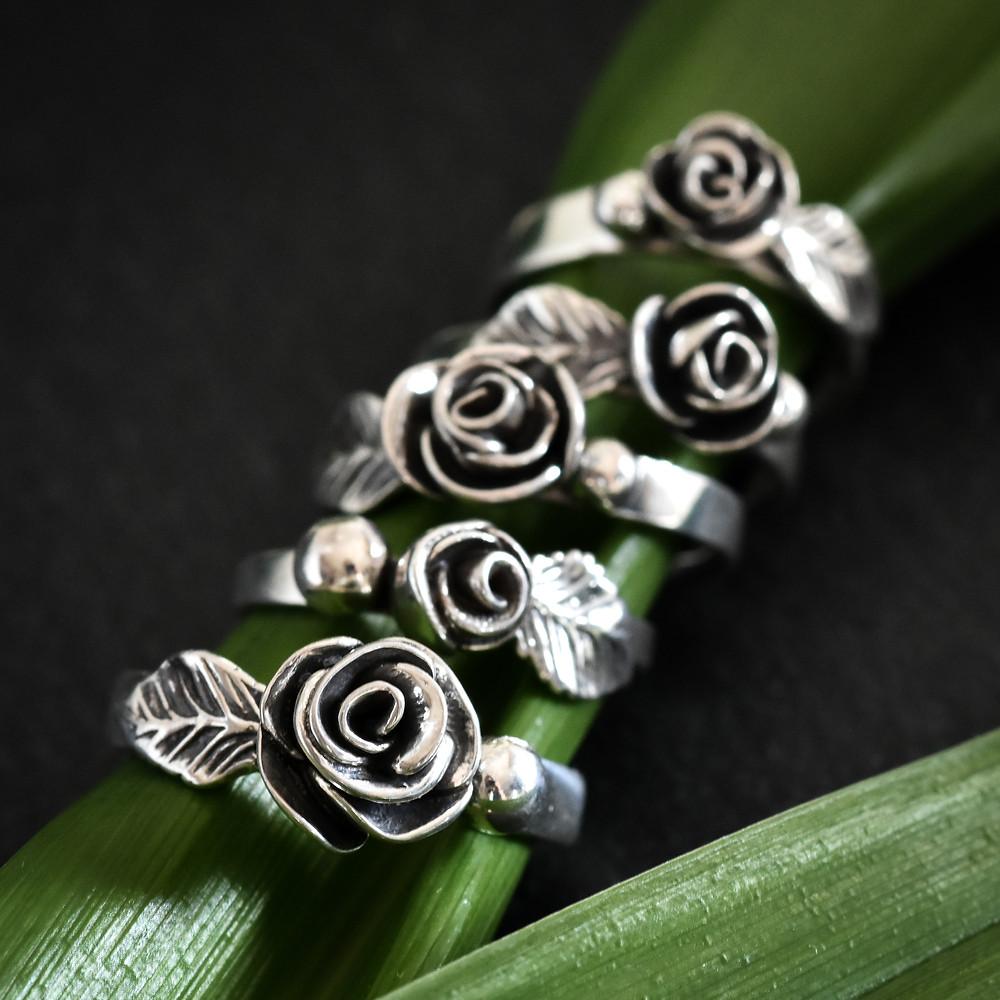 Custom sterling silver rose rings by Melissa Pedersen