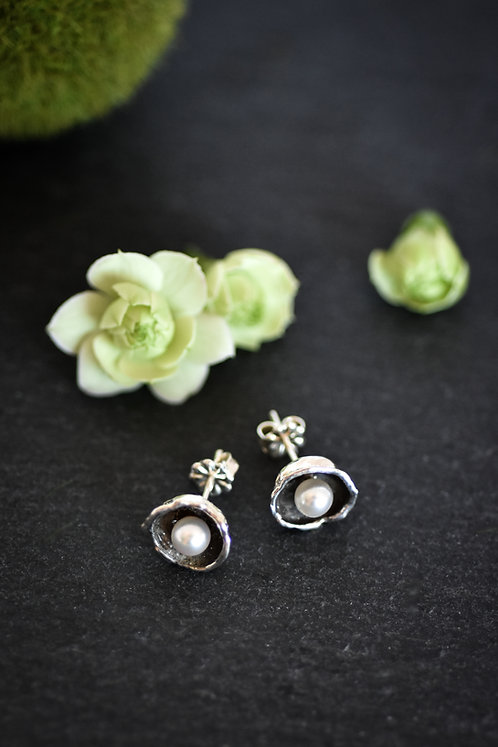 Water Cast White Pearl Studs