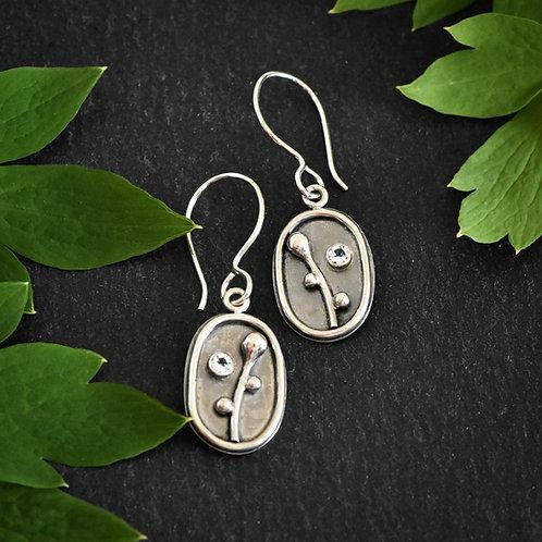 Oval Flower Bud Earrings