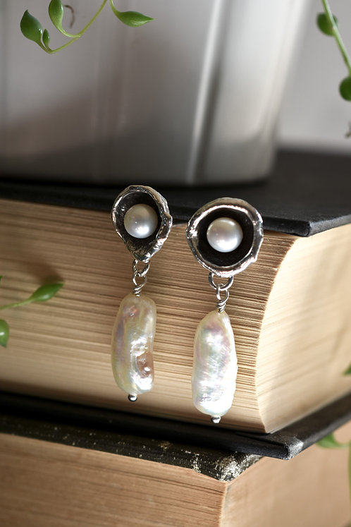 Baroque Pearl Water Cast Studs