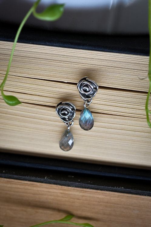 Rose Studs with Labradorite Drops