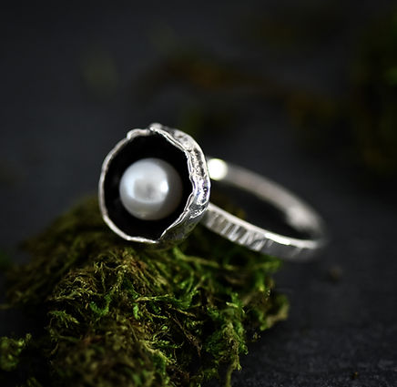 Handmade silver pearl statement ring