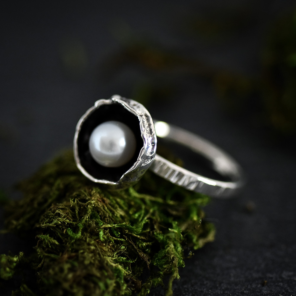 One of a kind sterling silver water cast ring, with large white freshwater pearl. One of a kind jewellery by artist Melissa Pedersen