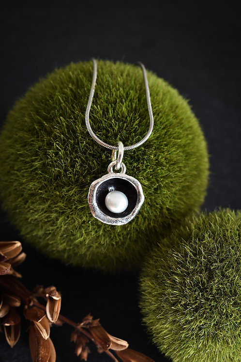 Water Cast Pendant with Pearl