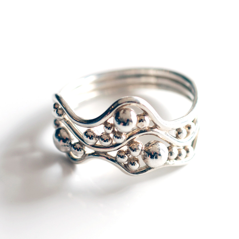 Wave ring in Argentium Silver