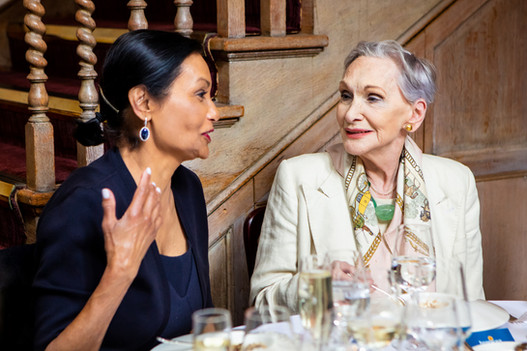 Lady Shakira Caine and Dame Siân Phillips DBE at the Hospice UK Fashion Lunch
