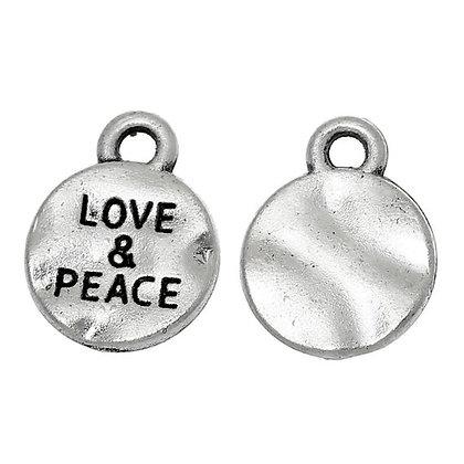 Love & Peace Charm (Silver Tone)