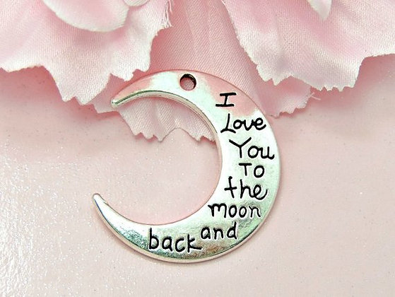 I Love You To The Moon & Back Charm (Silver)